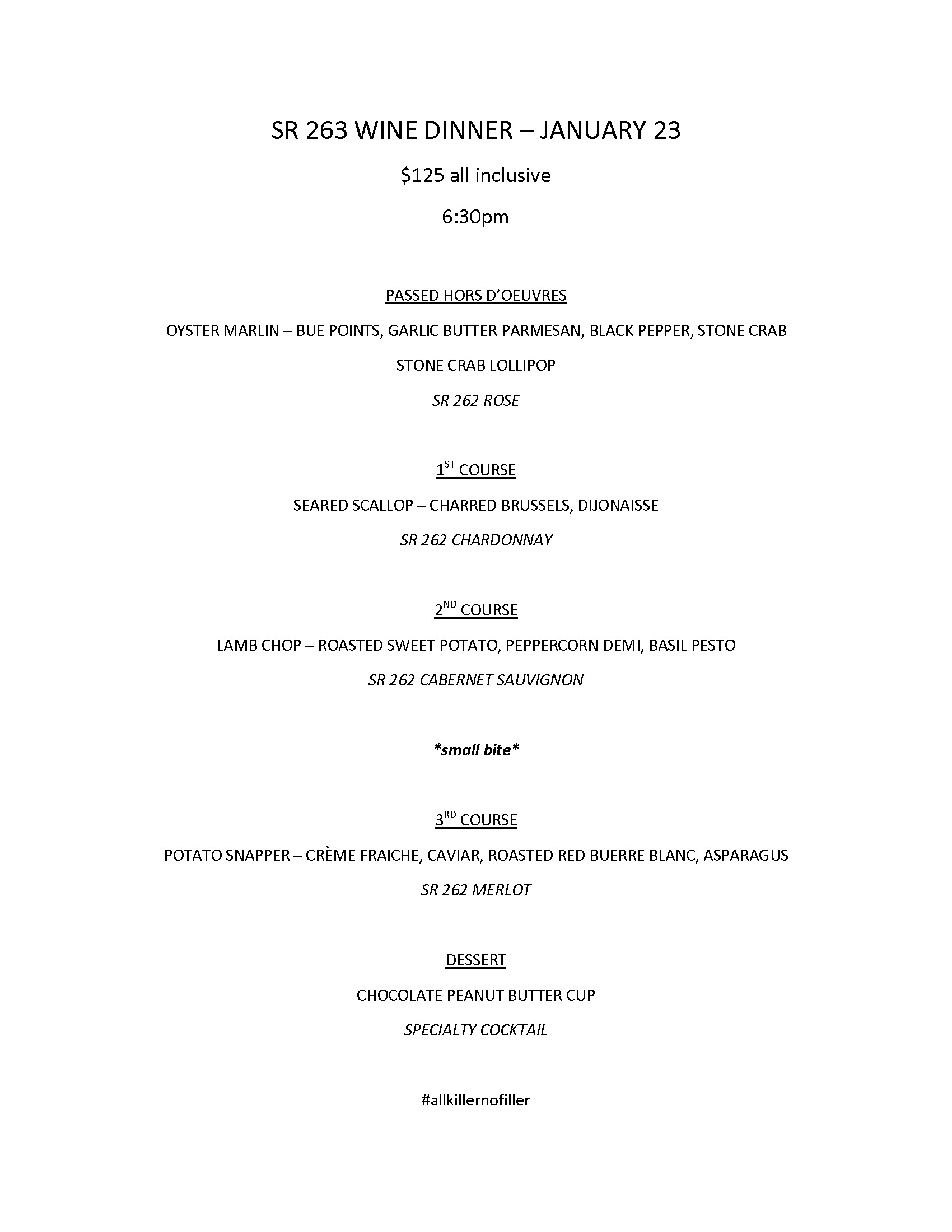 SR 262 DINNER JAN 23 MENU